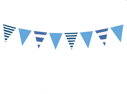 Гирлянда флажками, синяя в полоску (1,3 м)