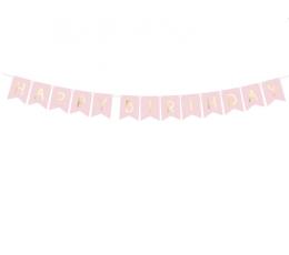 """Гирлянда """"Happy Birthday"""", розовая -золотая (1,75 м)"""