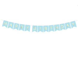 "Гирлянда ""Happy Birthday"", синяя -золотая (1,75 м)"