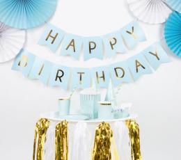 "Гирлянда ""Happy Birthday"", синяя -золотая (1,75 м) 1"