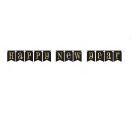 """Гирлянда """"Happy New Year"""" черная-золотая (2,13 м)"""