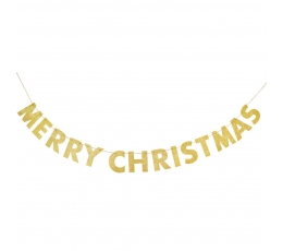 """Гирлянда """"Merry Christmas"""", золотая блестящая (2,74 м)"""