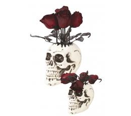 """Интерактивное украшение """"Череп ваза с розами"""" (30 см)"""