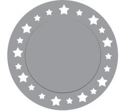 Картонные подставки, серебряные звезды (6 шт/ 33 см)
