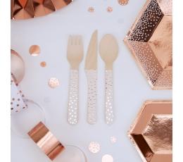 """Комплект столовых приборов, деревянные """"Розовое золото"""" (8 персон)"""