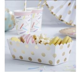 Коробочки для закусок, белые в золотой горошек (5 шт)