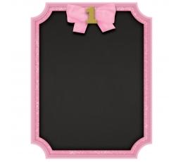 """Меловая доска """"1е день рождение"""", розовая"""