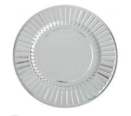 Тарелочки-подставки, серебряные блестящие (6 шт/33 см)