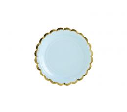 Тарелочки, голубые с золотой каемкой (6 шт/ 18 см)