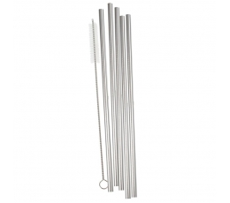 Металлические трубочки со щеткой, серебряного цвета (5 шт)