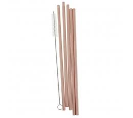 Металлические трубочки со щеткой, цвета розового золота (5 шт)