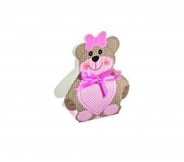 """Мини коробочка/ декорация """"Медвежонок с розовой ленточкой """""""