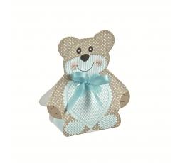 """Мини коробочка/ декорация """"Медвежонок с синей ленточкой """" (6X4X1,2 cm)"""