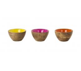 Мини миска с цветным акцентам из дерева манго (10 cm)