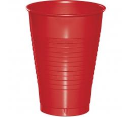 Пластмассовые стаканчики, красные (20 шт/ 355 мл)