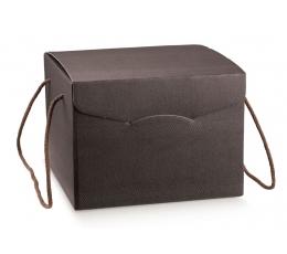Подарочная коробка с ручками, коричневая  (24X24X18 cm)