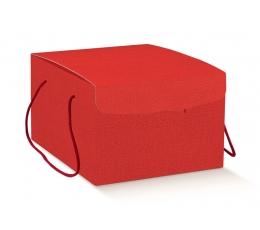 Подарочная коробка с ручками, красная (29X35X19 cm)
