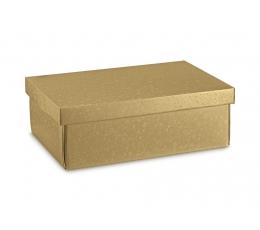 Подарочная коробка, золотая с крышкой (37,5 х 26 х 12,5 см)