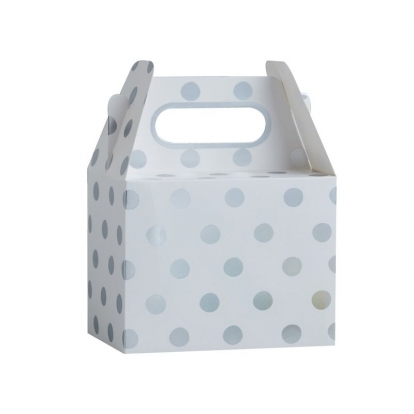 Подарочные коробки, белые в серебряный горошек (5 шт)