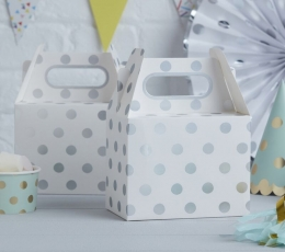 Подарочные коробки, белые в серебряный горошек (5 шт) 1