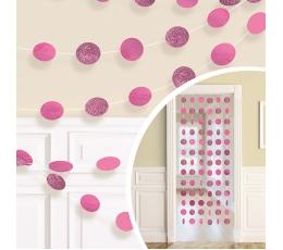 Подвесные декорации, блестящие -ярко розовые (6 шт/ 2,13 м)