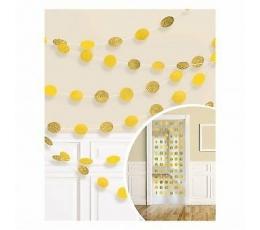 Подвесные декорации, блестящие -желтые (6 шт/ 2,13 м)