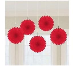 Подвесные декорации,  красные вееры (5 шт)