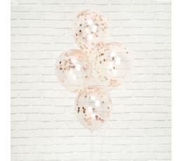Прозрачные шарики с конфетти цвета розового золота (8 шт)