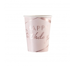 """Стаканчики """"Happy Birthday"""", розово-золотые (8 шт. / 250 мл)"""