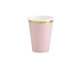 Стаканчики, светло розовые с золотой каймой (6 шт/ 220 мл)