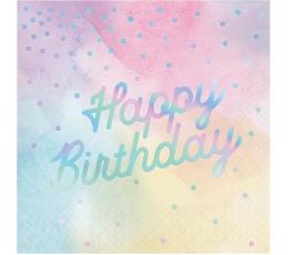 """Салфетки """"Happy Birthday"""", пастельный-перламутр (16 шт)"""