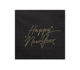 """Салфетки """"Happy New Year"""", черные с золотой надписью (20 шт)"""