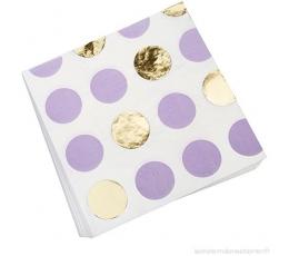 Салфетки, лиловые -золотые, в горошек (16 шт)