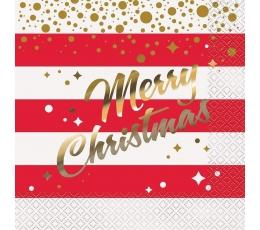"""Салфетки """"Merry Christmas"""", красные, золотистые (16 шт)"""