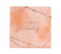 """Салфетки """"Happy Birthday"""", розово - золотые (16 шт.)"""