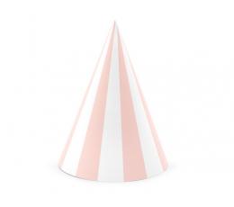 Шапочки, розовые -белые в полоску (6 шт)