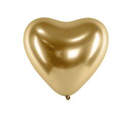 Шарик , металлизированный (хром) - сердце, золото (30 см)