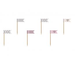 Шпажки-флажки ,розовые -черные  (6шт)