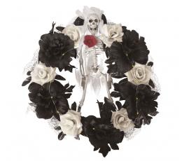 """Сияющий хеллоуин венок """"Скелет в розах"""" (40 см)"""