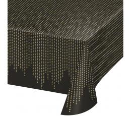 Скатерть, черная с золотым рисунком (137х259 см)