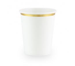 Стаканчики, белые с золотой каймой (6 шт/ 260 мл)