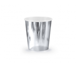 Стаканчики, серебряные - блестящие (6 шт/ 180 мл)