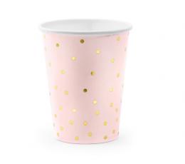 Стаканчики, светло розовые в золотой горошек (6 шт/ 260 мл)