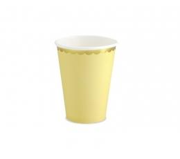 Стаканчики, желтые с золотой каемкой (6 шт/ 220 мл)