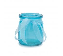 Стеклянная формочка, с лентой, светло синяя (7,5 х 6,5 см)