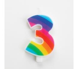 "Свеча ""3"", цвета радуги, с искорками"
