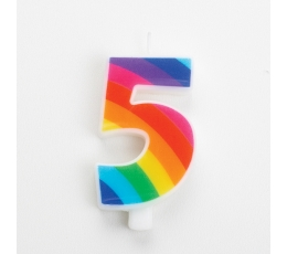 "Свеча ""5"", цвета радуги, с искорками"