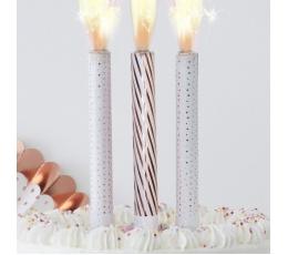 Свеча для торта - фонтан, бело - розовое золото (3 шт.)