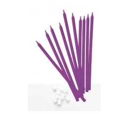 Свечи, длинные фиолетовые (10 шт)