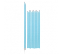 Свечи, светлые синие -длинные (10 шт/ 15 см)